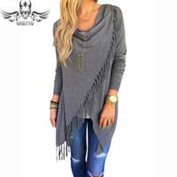 Wholesale Lady Tassel Slash Sweater Cardigan Women Slim Autumn Winter Cape Poncho Oversized Sweater Tassel Turtleneck Sweater