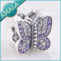 Wholesale Fits Pandora Bracelet Butterfly DIY Making New Jewelry DIY butterfuly Charms Original Authentic Sterling Silver Beads LW358