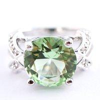 green topaz - Round Cut Green Amethyst White Topaz Silver Ring Sz R1