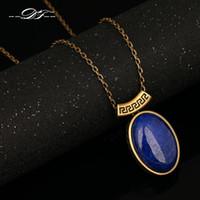 antique lapis necklace - Top Quality Lapis lazuli Antique Gold Silver Plated Necklaces Pendants Fashion Brand Jewelry For Men Women colares DFN581M