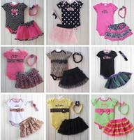 baby summer clothes - 1Set Retail Newborn Baby Kids Pieces Clothes Polka Dot Headband Romper Ruffled Tutu Skirt Bodysuit Outfit Set Clothes