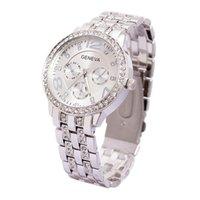 Precio de Gifts-Ginebra lujo de gama alta relojes de cuarzo de las señoras Para Hombres Mujeres unisex de acero del diamante de cristal del negocio de relojes de pulsera para el regalo