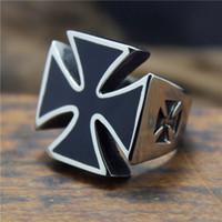 biker rings - Size New Design Stainless Steel Fashion Cool Jeuse Cross Biker Ring For Men
