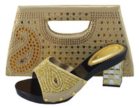 ladies high heel shoes - Top grade Item BCH02 Gold design lady high heel shoes pecfect matched with bag sets series for party High heel cm