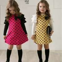Wholesale New Fashion Girl Dress Party Princess Dress Polka Dot print Casual Dress Cute Bow Children Clothing Spring Kids Clothes