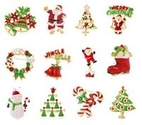 Wholesale 50PCS HHA286 Christmas Style brooch pin Santa Claus and boots brooches cane wreath snowman Christmas tree brooches jewelry gift