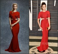 Wholesale 2016 New Embroidery Beading Red Carpet Celebrity Dresses Elegant Jewel Neck Short Sleeves Cutaway Sides Mermaid Evening Prom Gowns BA0868