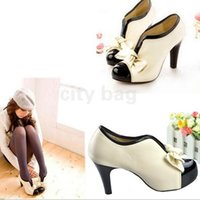Wholesale Hot Korea Leather Shoes Sexy Lady Beige Bow Pumps Platform Women High Heel Shoes Big Size Women Pumps Spring Beige Patchwork