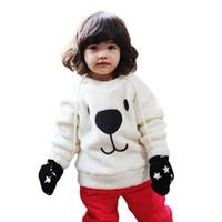 Wholesale Baby Clothing Boys Girls Lovely Bear Furry White Coat Thick Sweater Jacket