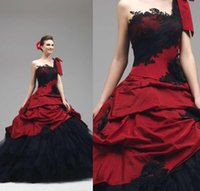 Wholesale Ball Gown Lace Appliques Gothic Wedding Dresses Custom Made One Shoulder Neckline Sleeveless Lace Up Red and Black Beach Bridal Gowns