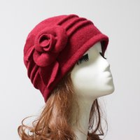 Wholesale Newest Wool Cloche Hat Floral Desgin Bucket Cap Beanies Colors Available