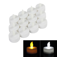 Wholesale LED Warm White Yellow Flickering Tealight Electronic Candles with Inside Button Battery Included LEG_011
