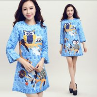 Wholesale 2015 Spring Women Dress Runway Brand Fashion Cute Cartoon Animal Owl D Print Three Quarter Sleeve Split A Line Party Dress