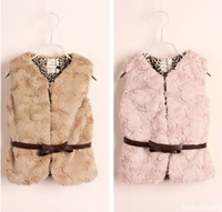 Wholesale Free DHL Girls Faux Fur Warm Vests with Bow Belt Baby Kids Girl Autumn Winter Fashion Fur Waistcoat Girls Outwear