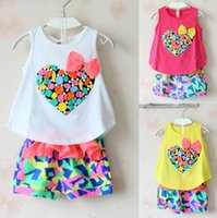 baby vest - New Girls Clothes Summer Baby Kids Sets Children Set High Quality Love Heart Print with Bow Tank Shorts Clothes sets Outfits