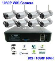 8CH Wifi al aire libre kit de cámara H.264 Sistema de 8 canales mini grabador de vídeo CCTV NVR 1080P Red Inalámbrica IP a prueba de agua