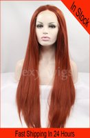 auburn hair pictures - In Stock New Hairstyle Long Wig Straight Auburn Color Synthetic Lace Front Wig Heat Friendly Hair with Baby Hairs As the Picture Show
