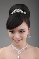Wholesale 2014 No Risk Shopping Fashion Silver Beaded Crystal Bridal Hair Crown Earrings Necklace Set Bridal Accessories Hair Tiaras Decorations