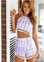 Wholesale w1025 Best seller Womens Beach Print Crop Top Shorts Twinset Two Piece Hot Pants Set