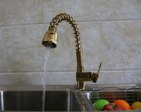 bar sink vanity - Luxury Golden Brass Spring Kitchen Faucet Single Handle Hole Vessel Vanity Sink Mixer Tap Swivel Bar Deck Mounted
