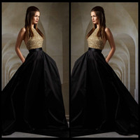 black and white evening dresses - Sexy Gold Top Bodice Sequin and Black Skirt Evening Dresses Halter Backless Formal Evening Gowns Hi Lo Train Elie Saab Prom Dresses