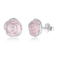 Wholesale Elegant Pandora Style Roses Silver Stud Earrings with Pink Enamel Genuine Sterling Silver Flower Earrings for Women ER001