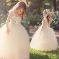 Wholesale 2015 Flower Girls Dresses with Lace Wide Straps Ruffled Tulle Princess Gowns Little Girls Ball Gowns Wedding Flower Girls Dresses with Sash