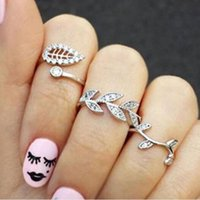 Wholesale 3 pieces set Fashion Different Leaves Crystal Finger Bridal Ring Jewellery Engagement Rings for Women Jewelry