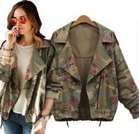 army clothings - 2015 New women s army green camouflage jackets coat zipper cardigans denim jackets women coats winter clothings