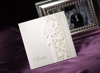 embossed wedding invitations - WSM40 Vintage Embossed Tri fold Engagement Wedding Invitation card With Lace Bowknot New
