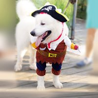 Cheap Newest Hot Sale Pet Dog Halloween Pirate Dog Costume with Skull Hat Funny Pet Dog Clothes For Halloween Holiday Free Shipping