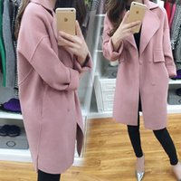 Wholesale 2016 double pockets coats for women slim fit casual long sleeve lapel neck wool coats for womens winter coats