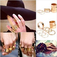 Wholesale 2015 Fine Jewelry Newest set Shiny Punk Gold Silver Stack Plain Band Midi Mid Finger Knuckle Ring Set Promotions
