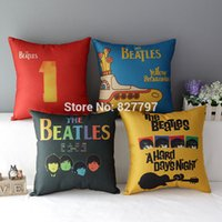 beatles songs - Retro Vintage Cover The Beatles Song Pattern Pillow Cover Throw Cotton Linen Pillow Case Home