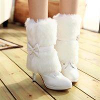 Cheap PU winter white boots pink wedding shoes bridal medium-leg plus size 40 41 42 high heel 9CM Platform 2CM EUR Size 32-43