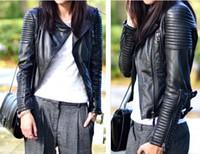 Women black leather motorcycle jacket - Motorcycle leather leather leather jacket slim short leather jacket