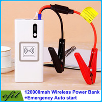 Wholesale Portable KP120A Mobile Tablet Power Bank mAh Auto EPS Jump Starter Emergency Start Power Car Charger Wireless Charging LED Light