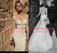 vintage style - Vintage style Long sleeves Mermaid lace wedding dresses deep V neck backless appliques sequins beaded court train bridal gowns GL1420