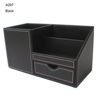 Wholesale Kingfom Multi Functional Desktop Organizer Stationery Storage Pen Holder Cosmetic Organizer With Wooden Structure PU leather