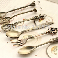 al por mayor cucharas de medir vintage-12 PC / porción de la vendimia Royal Style Coffee Scoop Cuchara / torta Pie Postre Forks / Medida de medición