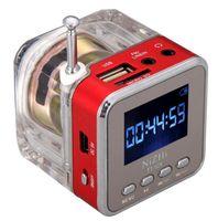 Wholesale Mini Portable Digital Acrylic MP3 Speaker With FM radio Alarm Clock LED Light TT Speakers LCD screen SD TF card USB Slot for cellphone