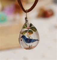 Wholesale Cute Birds Glass Gem Pendant Necklaces Vintage Leather Rope Chain Waterdrop Charms Necklace Fine Jewelry Handmade Chirstmas Gifts K541