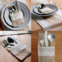 Wholesale 10Pieces Vintage quot x8 quot Hessian Burlap Lace Wedding Tableware Pouch Cutlery Holder Decorations Favor MCD