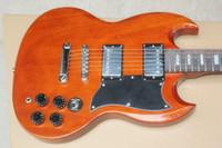 Hot Sale SG grain de bois d'origine rouge transparent brun Guitare électrique 6 cordes Guitares EMS Drop Shipping gratuit