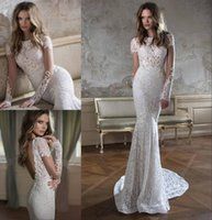 Cheap 2015 Fall Berta Bridal Wedding Dress Sexy Illusion Lace Sleeves Beaded Gown Charming Lace Wedding Dresses Mermaid Berta Bridal Gowns