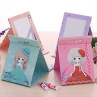 Wholesale F17 Korean version of the desktop portable folding mirror vanity mirror large mirror carry a small mirror cute paper