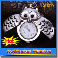 antique brass clock - Unique Antique Fashion Alloy Vivid Owl Pocket Watch Pendent Necklace Chain Vine Watch Active Wings Clock
