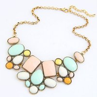bib necklace wholesale - European Elegant Fashion Antique Metal Temperament Colorful Chokers Women Geometric Necklace Chunky Design Bib Statement Necklace