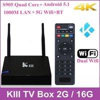 Wholesale K3 KIII G G Android TV Box Amlogic S905 Quad Core Dual Wifi M LAN Bluetooth K Kodi Media Player p