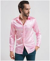 Wholesale 2015 new Silk Black Grey white blue red men dress shirt long sleeve soft high quality casual shirt S XL colors